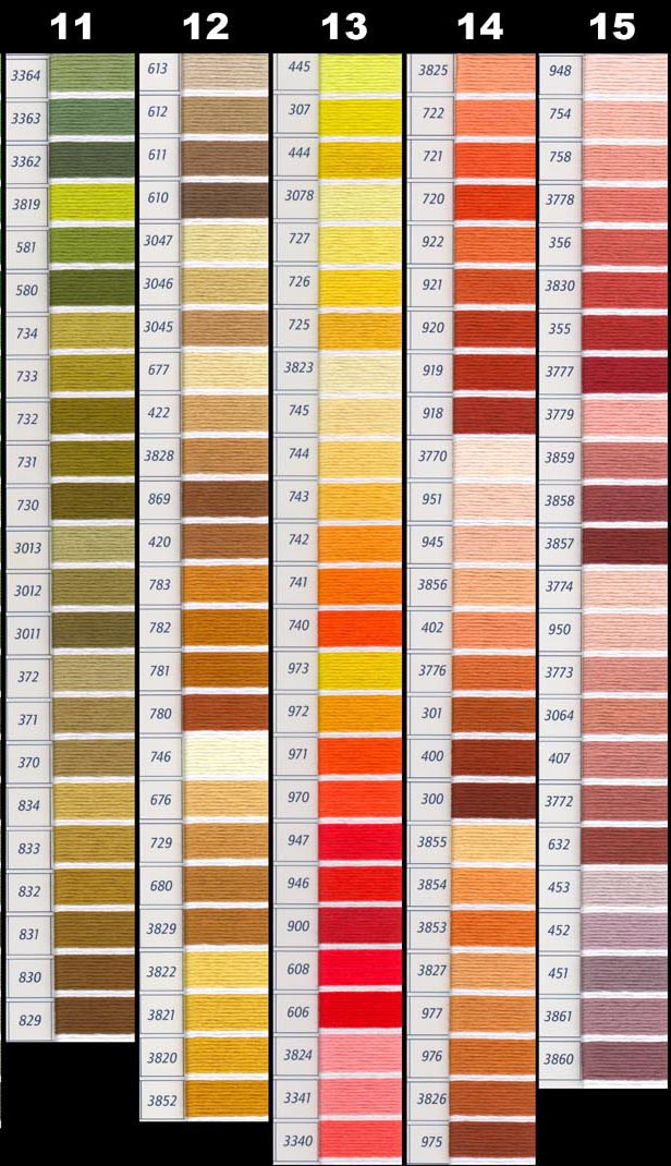 Here Is The Same Dmc Color Chart Divided Into Smaller Pieces Page1 Page2 Page3 Page4